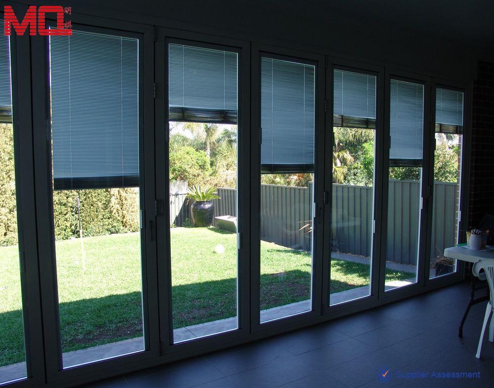 Sliding Door Inserts : Garden glass folding door with blinds insert view