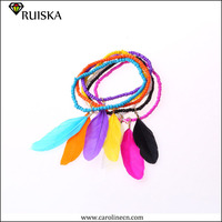 Bohemian Colorful Beads Chunky Fashion Bangles With Feather Stretch Bracelets Set