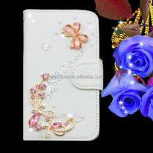 Factory Price Luxury Bling Handmade Diamond PU Wallet Leather Mobile Phone Case for Asus Zenfone 5