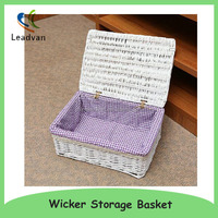 Handicraft Wicker Rattan Basket with Lid for Storage