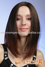 Synthetic hair styling long red omber color women's hair full lace wig