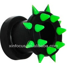 Black Neon Green Silicone Spiked Flexible Tunnel Body Jewelry