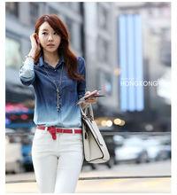Alta calidad de Blusas Jeans Primavera 2014 S - vaqueros de las mujeres XXXL Camisa Jeans Feminina Gradiente Mujeres Grandes Tal