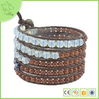 5 Layer Wrap Gemstone Bracelet, Mix Stone Wrap Bead Bracelet, Handmade White Crystal Wrap Fashion Jewelry