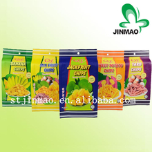 Food industrial use color printing side gusset plastic packaging bag for dried fruit chips with handle hole