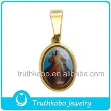 Religious accessories oval shape Pendant brand with enamel epoxy portrait of Jesus 2015 stainless steel glamour christ jewelry