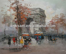 Hand Painted Palette Knife Abstract Paris Street Oil Painting