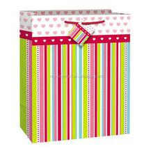 decorated promotional striped printed shopping paper bag