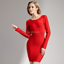Fancy wedding red UK new fashion dress 2015 Long sleeve gowns