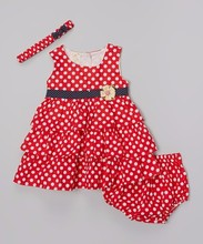 2015 cheap price for baby girls summer dress and short set fancy polka dot