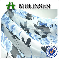 Mulinsen Textile Woven 100% Polyester Pebble Georgette Floral Design Print Fabric