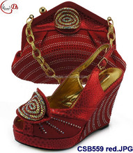 New lady high heel shoes with matching purse/cluth/bag CSB559 red