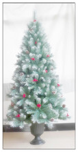 New 6.5 ft vintage Christmas Tree with Pinecone and Plastic Bottom/Snowing Christmas Tree with Red Berries