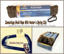 Durable Camo 16-Strands Diamond Braided Poly Rope 3/8 inch x 75 feet for Hunting / Camping