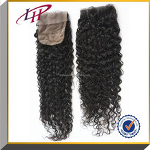 High Quality 6A Human Brazilian virgin Hair Lace Closure 4*4 Silk base Jerry Curly natural color