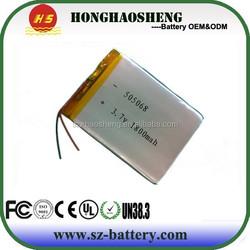 A greade 3.7v 505068 rechargeable li-polymer batteries 1800mah