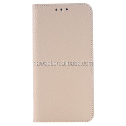 Litchi Texture Horizontal Flip Genuine Leather Case with Card Slots & Holder for Samsung Galaxy S6 Edge(Khaki)