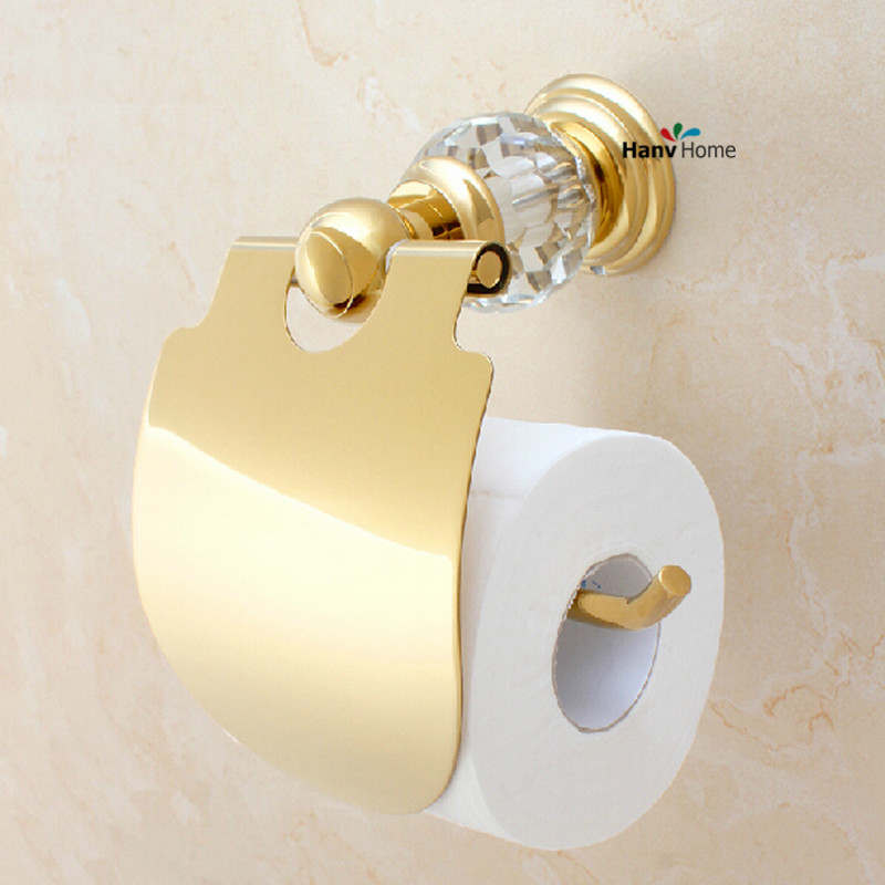 Luxury Crystal Brass Gold Paper Box Roll Holder Toilet