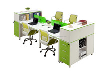 Modern cubicle designs wooden partition four people office workstation