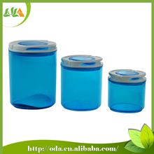 2015 latest bright color cylindrical food grade plastic container