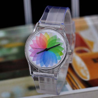 Simple seven colors magic figures plastic ladies watch with SL68 movement