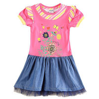 (H5909D) 2-6y Nova kids wear 2015 newest jeans girls dresses summer embroidery baby girl frocks