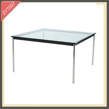 modern metal frame round glass solid oak dining table set