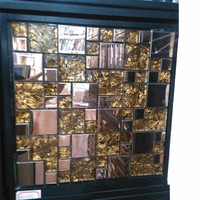JS square gold tiger skin glass mosaic tile mix red steel mosaic