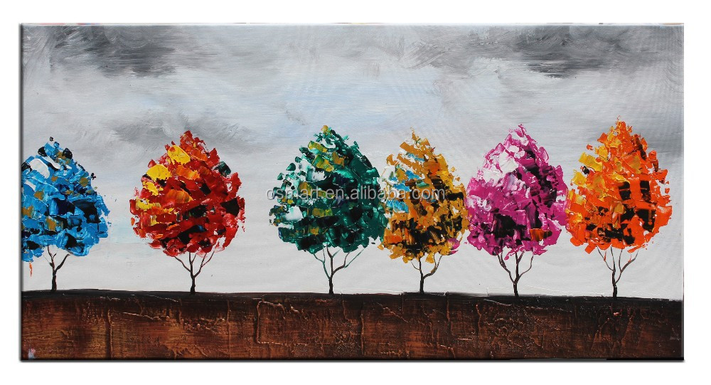 Pared sticker canvas pintura pinturas de aceite de hojas de ...