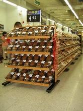 prateleira de madeira e fio de metal rack prateleiras ajustáveis de exposição do pão para a seção final