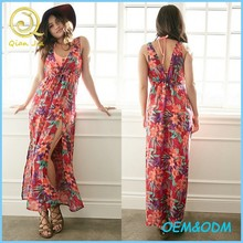 Women Sexy Maxi Cover Up Floral Beach Wear Dress / Cover Up
