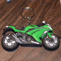 Motorcycle shape rubber keychain