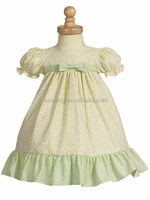 Sunwing Yellow/Lime Green Cotton Print Baby Girl Dress Of 3 Years Old