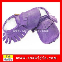 The world best quality Korea purple tassels moccasins soft flat Cow Leather Infant Shoes