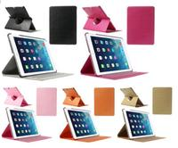 Black Cross Texture Smart Leather Case Cover for iPad Air w/ Rotary Stand