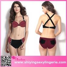 Wholesale Factory Price Wine Straps Top Match Studded Thong Swimsuit bikini open women photos
