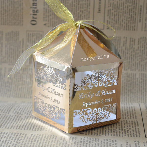 Personalized Gold Silver Wedding Party Favors Gift Box Event Party