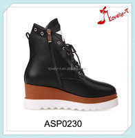 New fashion girl double-deck outsole laced sport shoes from directly factory with side zipper