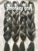 24inch Folded 100grams/pack Solid Smonkey Gray Grey Single Color Xpression Synthetic Jumbo Braiding Hair