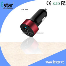 Most Powerful Car Charger Intelligent 4.8A 24W Premium Aluminum 2 USB Car Charger With Smart Sharing IC