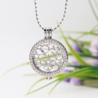 round shape 33mm silver color shining star design coin pendant