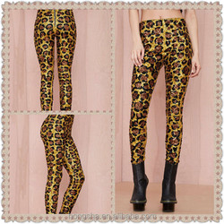 OEM China Supplier 2015 Summer Women Stretch Jersey Hand-made Designs Sequin Leopard Pants HSP8466