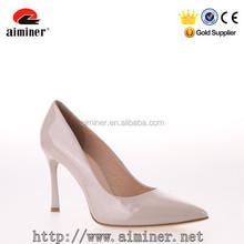 Chengdu Aiminer Leather Women High Heel Shoes Khaki Elegant Office Lady Shoes