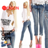 Colorful denim ladies' butt lifting jeans with skinny fit(jeans Co011)
