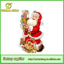 3d navidad decoración de hogar santa claus de brillo de la imagen de la pared para/ventana/puerta/de vidrio