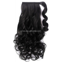 Straight Dark BLACK wrap around clip in ponytail hair extension 22 inches long.