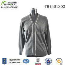 BLUE PHOENIX branded v neck zip 100% cashmere cardigan sweater