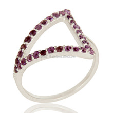 Pave Setting Round Amethyst Gemstone, Wholesale Tringle Design Dome Ring Jewelry