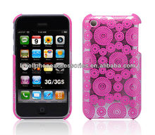 For Apple Iphone 3G 3GS Pink Leather Fabric Phone Case