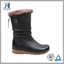 Wool fur lined light weight women black boots winter snow boots